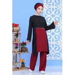 Ensemble perlé tunique + pantalon de couleur noir et bordeaux