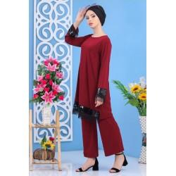 Ensemble 2 pièces tunique + pantalon de couleur bordeaux