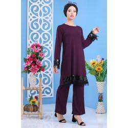 Ensemble 2 pièces tunique + pantalon de couleur violet