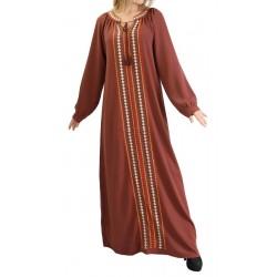 Robe Abaya brodée de couleur marron noisette