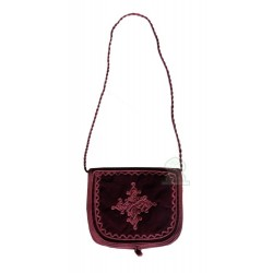 Handcrafted satchel in burgundy mabra fabric with pretty embroidered patterns