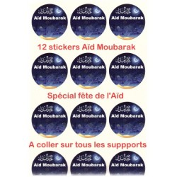 """Set of 12 large round bilingual """"Aid Mubarak"""" stickers (French / Arabic) for Aid Gifts..."""