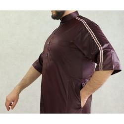 Modern Qamis for men short sleeve top quality dark garnet color