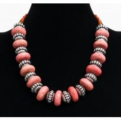 Ethnic artisanal necklace imitation large pink stones