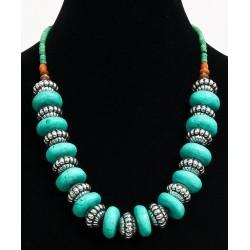 Ethnic artisanal necklace imitation large green stones