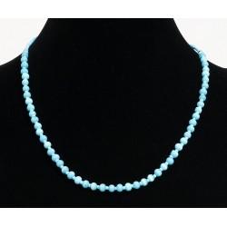 Ethnic artisanal necklace imitation light blue pearls