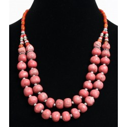 Ethnic handcrafted necklace imitation coral stones two rows, embellished with pearls...