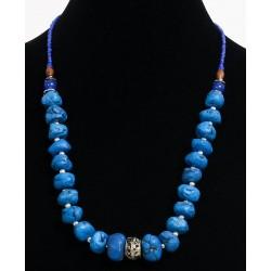 Ethnic artisanal necklace imitation blue stones embellished with metal beads, blue and...