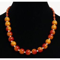 Ethnic artisanal necklace imitation orange balls embellished with metal beads and...