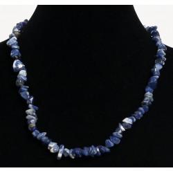 Ethnic handmade necklace imitation blue quartz with a quartz pendant