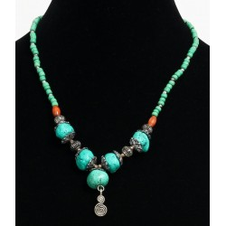Ethnic handmade necklace imitation green pearls, turquoise stones embellished with a...
