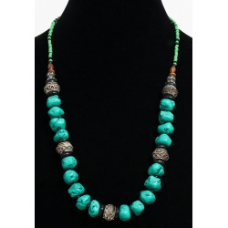 Ethnic artisanal necklace imitation deformed turquoise stones arranged with small black...