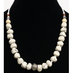 Ethnic handmade necklace imitation misshapen white balls separated from white pearls...