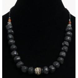 Ethnic handmade necklace imitation deformed black balls, separated from black pearls...