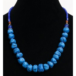 Ethnic handmade necklace imitation deformed turquoise balls separated from blue pearls