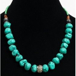 Ethnic artisanal necklace imitation deformed turquoise balls separated from black...