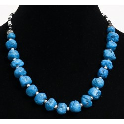 Ethnic artisanal necklace imitation deformed turquoise balls separated from metal beads...