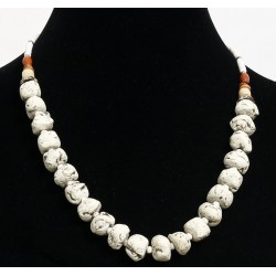 Ethnic artisanal necklace imitation white stones separated from small white pearls and...