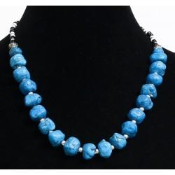 Ethnic artisanal necklace imitation blue stones embellished with metal beads, black and...