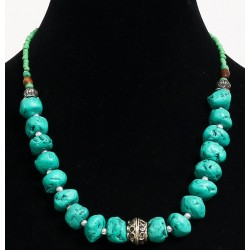 Ethnic handmade necklace imitation deformed turquoise stones separated from metal beads...