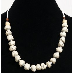 Ethnic handmade necklace imitation deformed white stones separated from metal beads and...