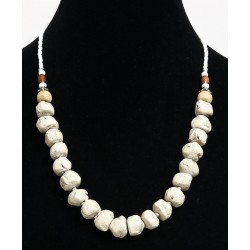Ethnic artisanal necklace imitation white stones separated from metal pearls and...