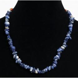 Ethnic handmade necklace imitation turquoise quartz embellished with wooden beads