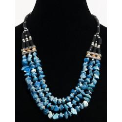 Ethnic artisanal necklace three rows imitation blue quartz embellished with metal beads...