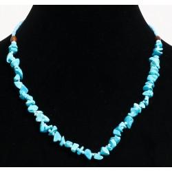 Ethnic handmade necklace imitation turquoise quartz embellished with blue and wooden beads