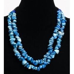 Ethnic artisanal necklace imitation blue quartz two rows embellished with black tubes