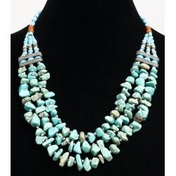 Ethnic artisanal necklace imitation small turquoise stones three rows embellished with...