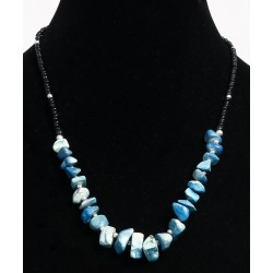 Ethnic artisanal necklace imitation small blue stones embellished with black pearls and...