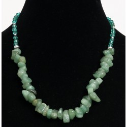 Ethnic artisanal necklace imitation small green stones embellished with metal and green...