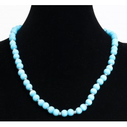 Ethnic artisanal necklace imitation light blue pearls embellished with other small...