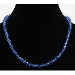 Ethnic artisanal necklace imitation transparent blue pearls