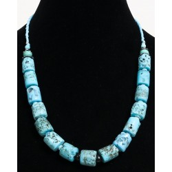 Ethnic artisanal necklace imitation light blue coral embellished with blue pearls and...