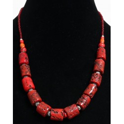 Ethnic handmade necklace imitation red coral (burgundy) embellished with red pearls and...