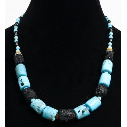 Ethnic handmade necklace imitation coral blue and black embellished with blue and black...