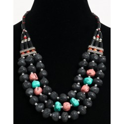 Ethnic artisanal necklace imitation multicolored stones, black tubes and pearls...