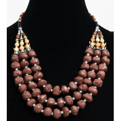 Ethnic artisanal necklace three rows imitation brown stones and pearls arranged with...