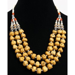 Ethnic artisanal necklace three rows imitation yellow stones and pearls arranged with...