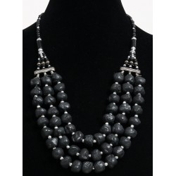 Ethnic artisanal necklace three rows imitation black stones and pearls arranged with...