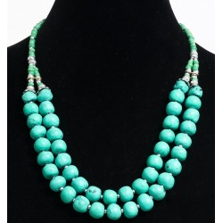Ethnic artisanal necklace two rows imitation round turquoise stones arranged with green...