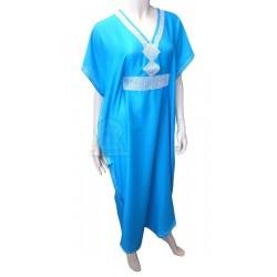 Moroccan Gandoura turquoise blue with silver rhinestones