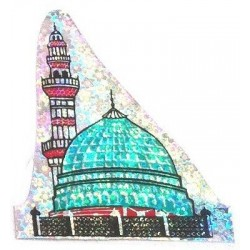 Blue, green and red sticker of the Mosque of Medina