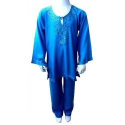 Jabadour ( tunique ) marocaine en bleu avec des strass pour enfants