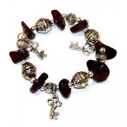 Moroccan craft bracelet with dark brown colored stones