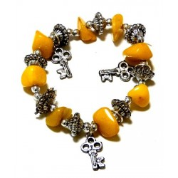 Moroccan craft bracelet with yellow colored stones