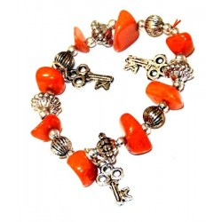 Moroccan craft bracelet with orange colored stones