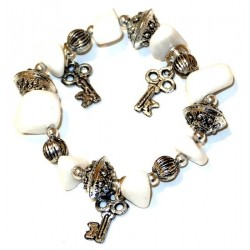 Moroccan craft bracelet with white colored stones